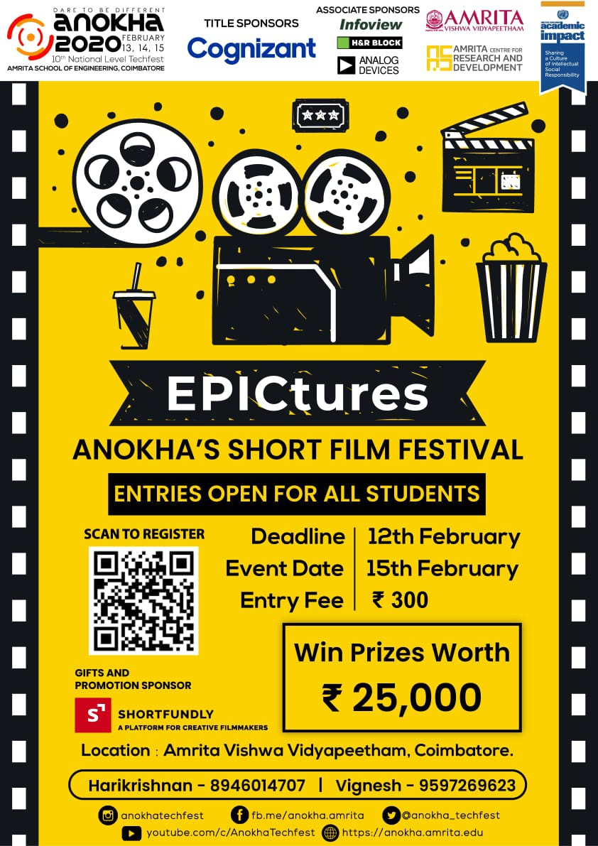 Amrita university coimbatore – Short film festival event 2020 – Submission Deadline Feb 12